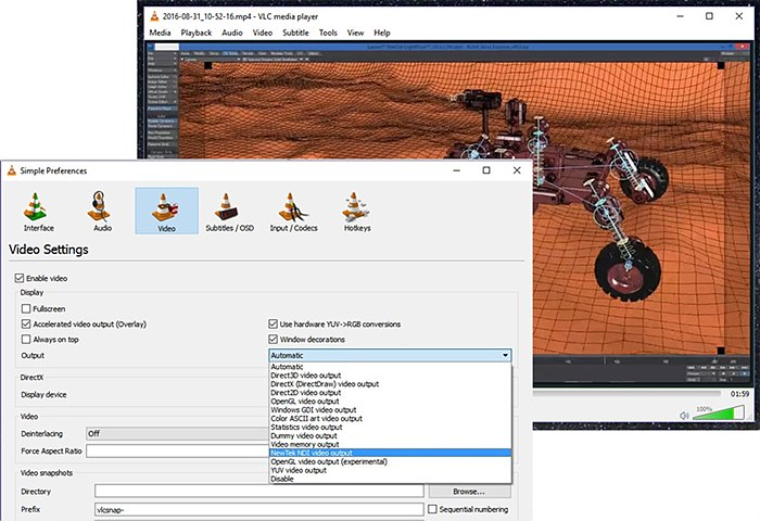 VLC 플레이어에서 NDI 출력 옵션을 선택하여 파일을 NDI로 출력