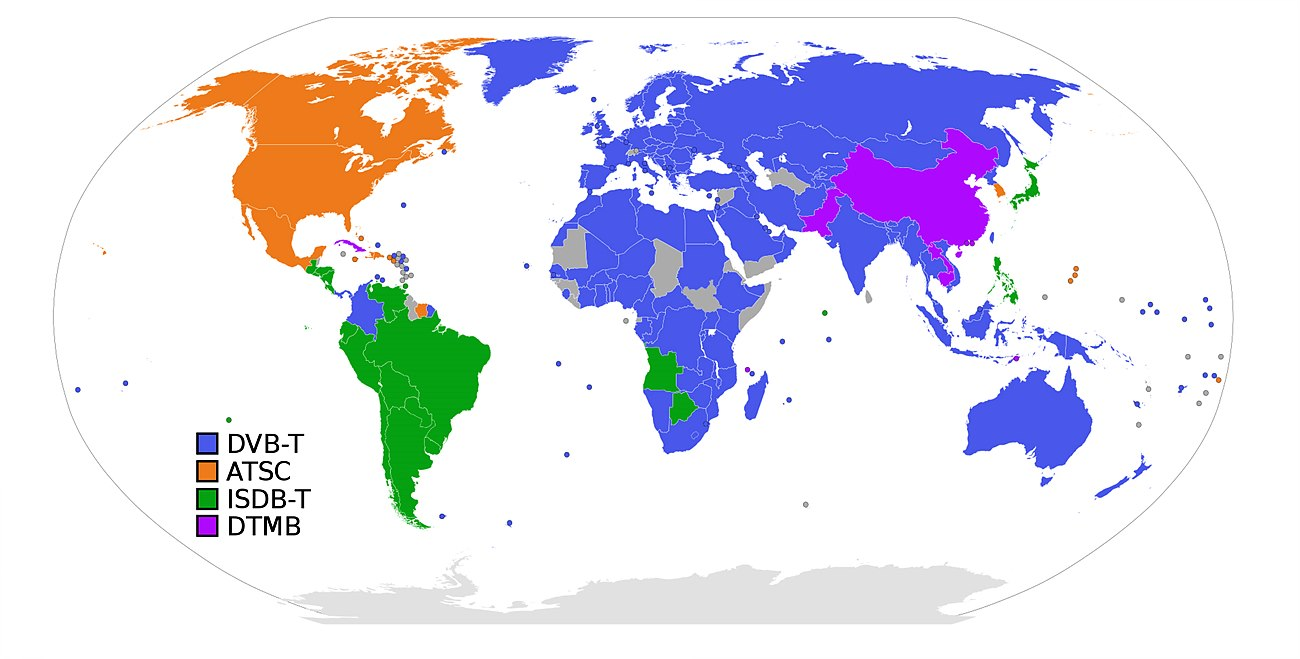 그림 1. 국가별 지상파방송 표준 채택 현황  / 출처 : en.wikipedia.org/wiki/Digital_terrestrial_television