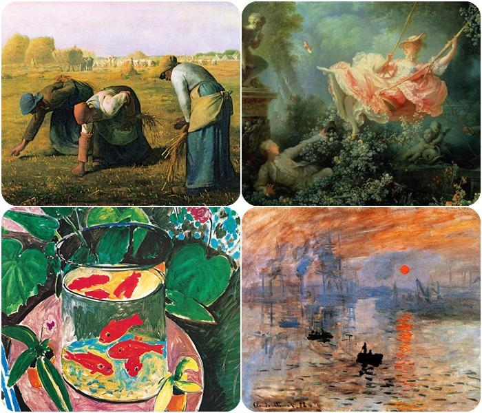 그림 17. (시계 방향으로) 프라고나스(그네), 밀레(이삭줍기), 마티스(금붕어), 모네(인상 해돋이)